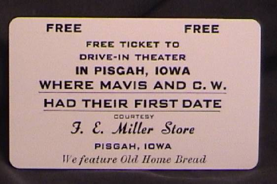 Free pass to the drive-in theater in Pisgah