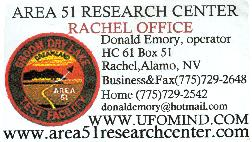 Area 51 Research Center, Rachel Office business card