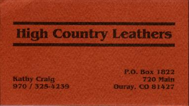 High Country Leathers, Ouray, Colorado