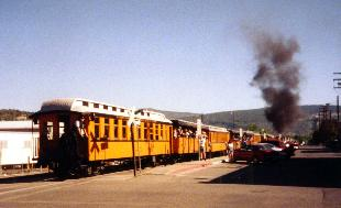 The Silverton train leaving the depot