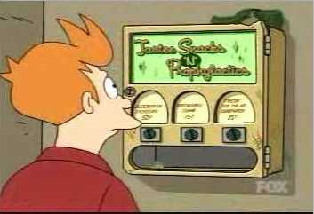 Fry checks out the vending machine