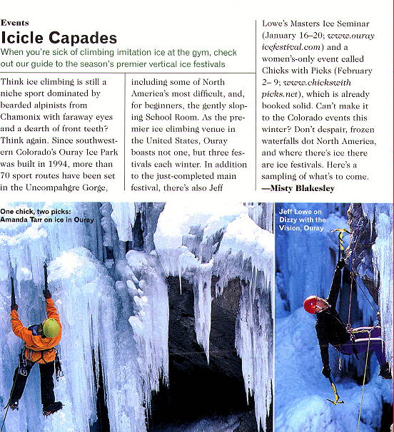 Ouray Ice Festival, as reported in Outdoors magazine
