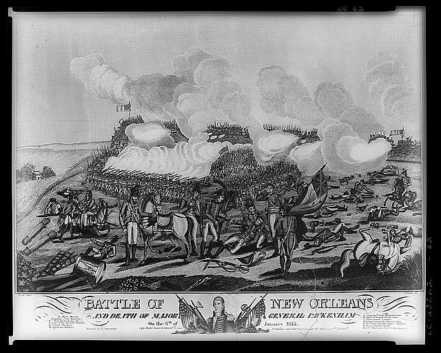 Engraving of The Battle of New Orleans, by Joseph Yeager, ca. 1815-1820.