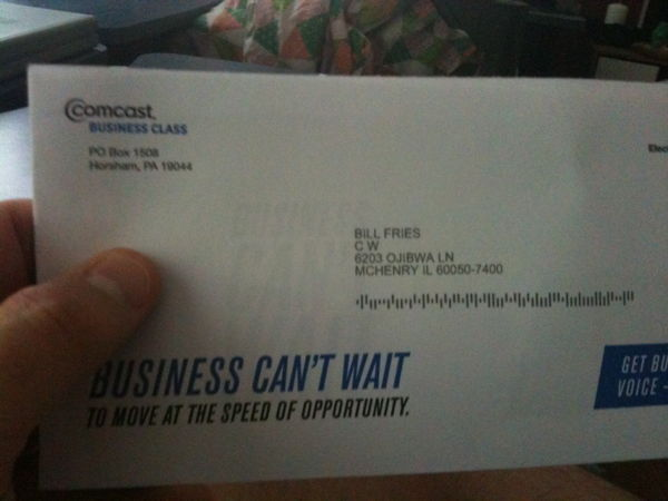A letter from Comcast, sent to someone who isn't here.